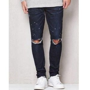 Stack Skinny Paint Splattered Jeans Pacsun 28×30